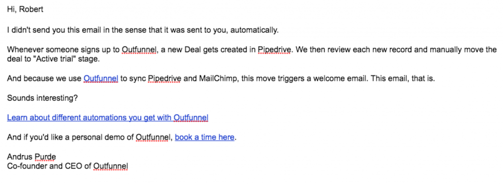 "Outfunnel's automated ""Welcome email"""