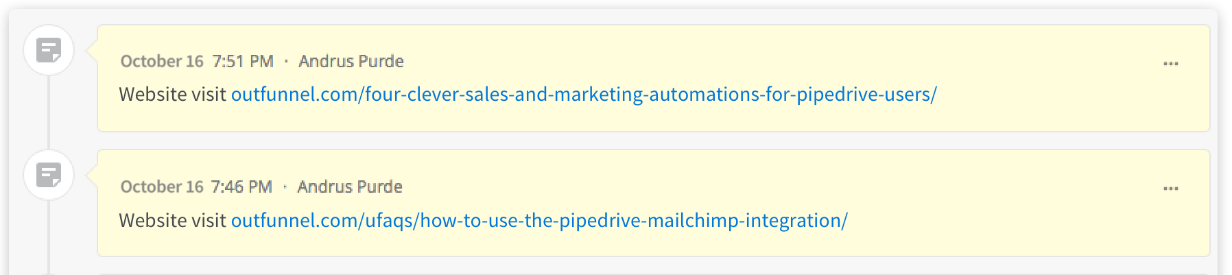 Outfunnel's web tracking feature sends information to Pipedrive