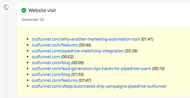 Web tracking results displayed at Pipedrive