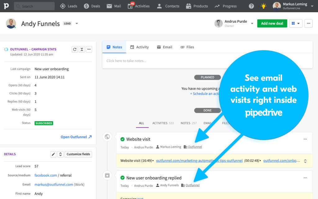 outfunnel pipedrive