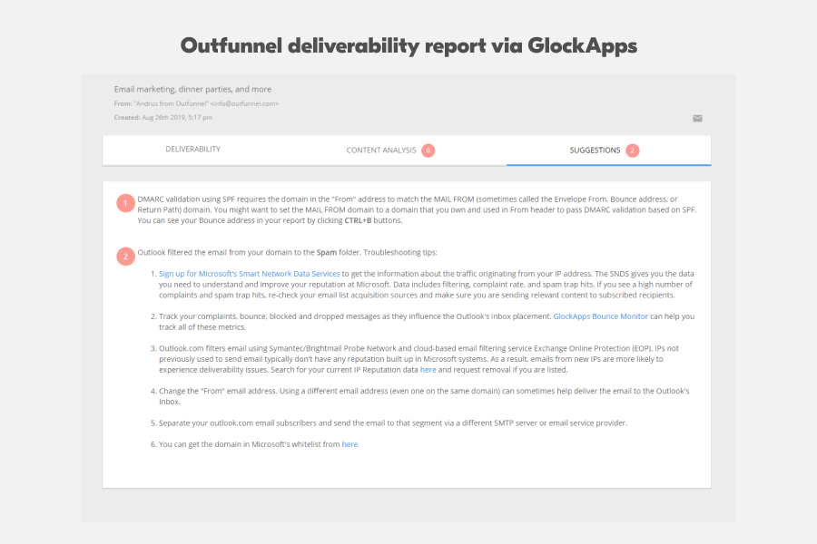 Outfunnel email deliverability report