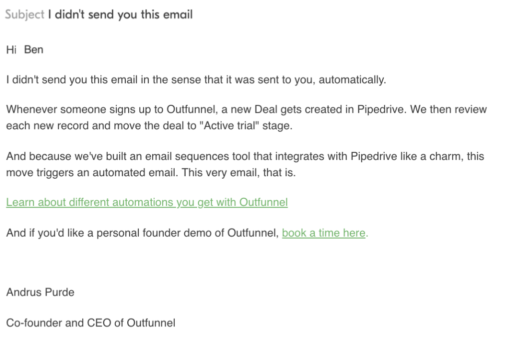 Screenshot of one of the first automated onboarding emails we sent out to customers