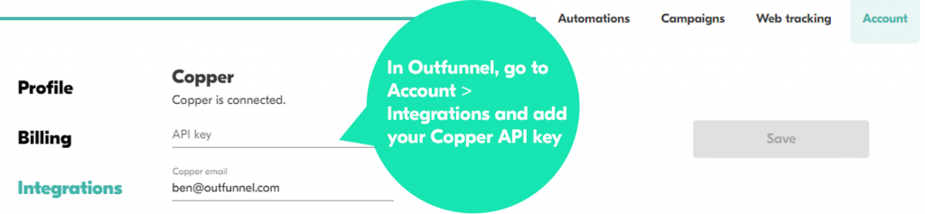 Where to add your Copper API key and setup copper email marketing integration