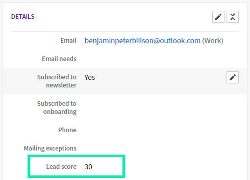 lead scoring in pipedrive - example screenshot