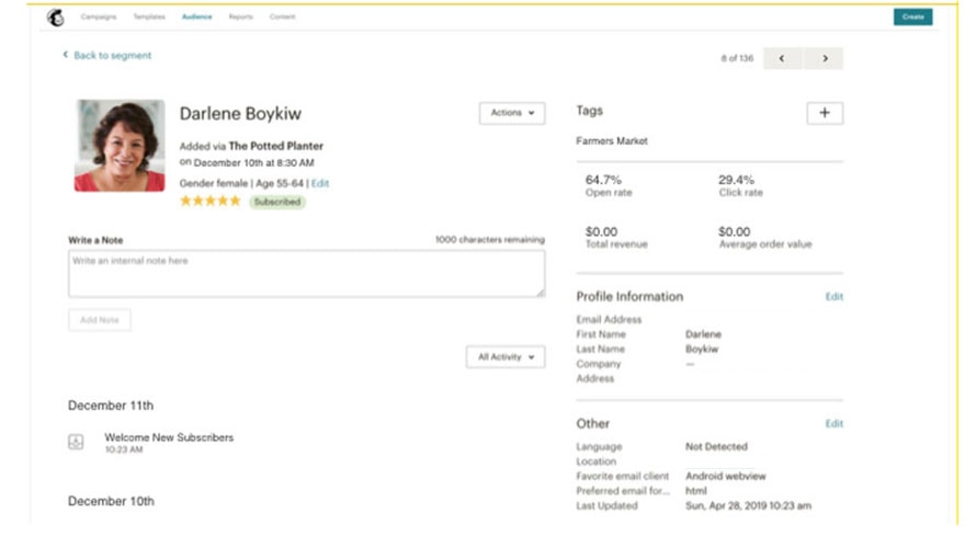 mailchimp CRM integrations - screenshot of customer profile inside mailchimp CRM