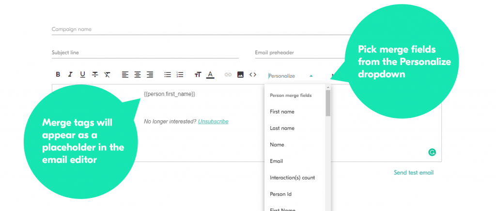 Personalizing your emails with copper email marketing integration