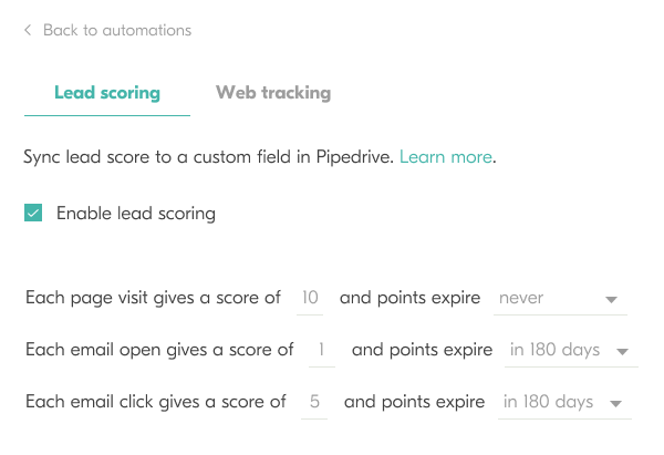 outfunnel lead scoring setup