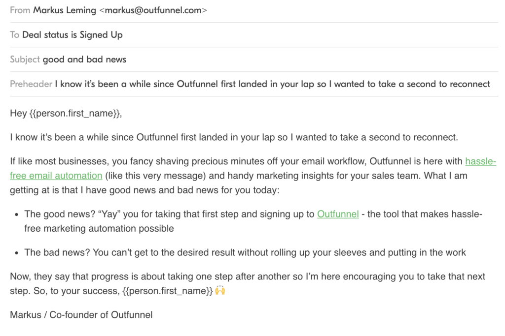Example of the email we sent the day after the previous onboarding email