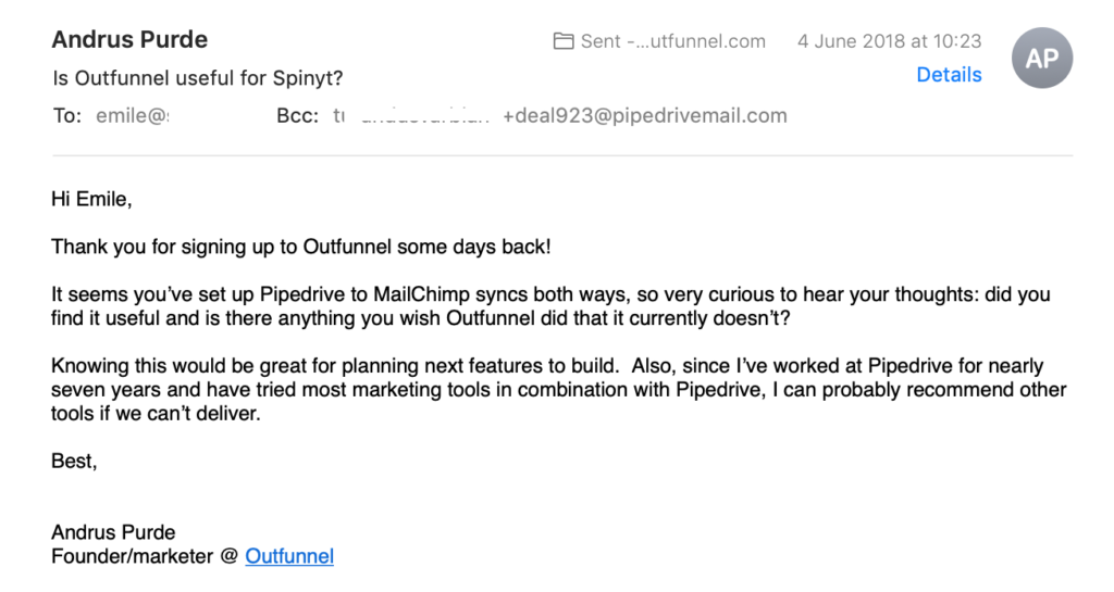 Pre-onboarding automation: an example of a manual feedback email sent out to new Outfunnel customers