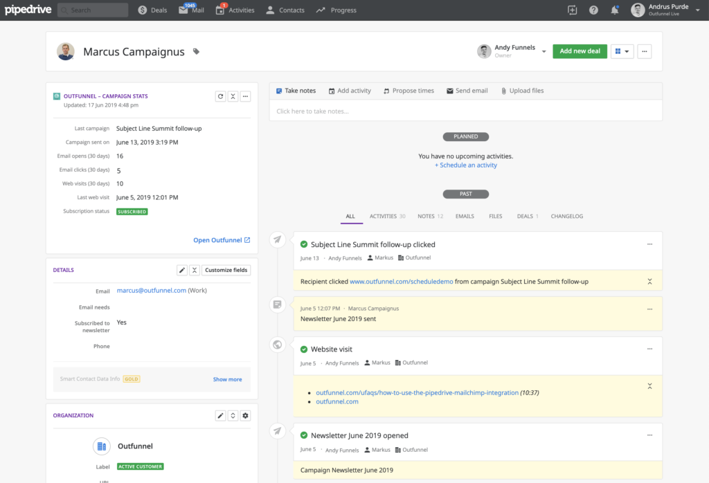 outfunnel pipedrive integration