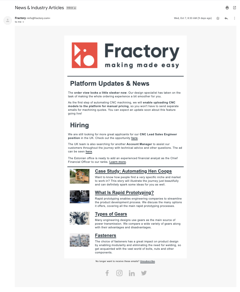 fractory email newsletter
