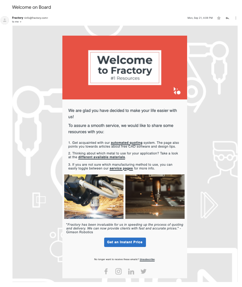 Fractory onboarding emails