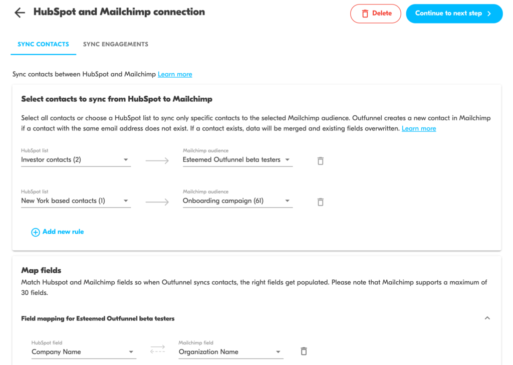 hubspot and mailchimp connection