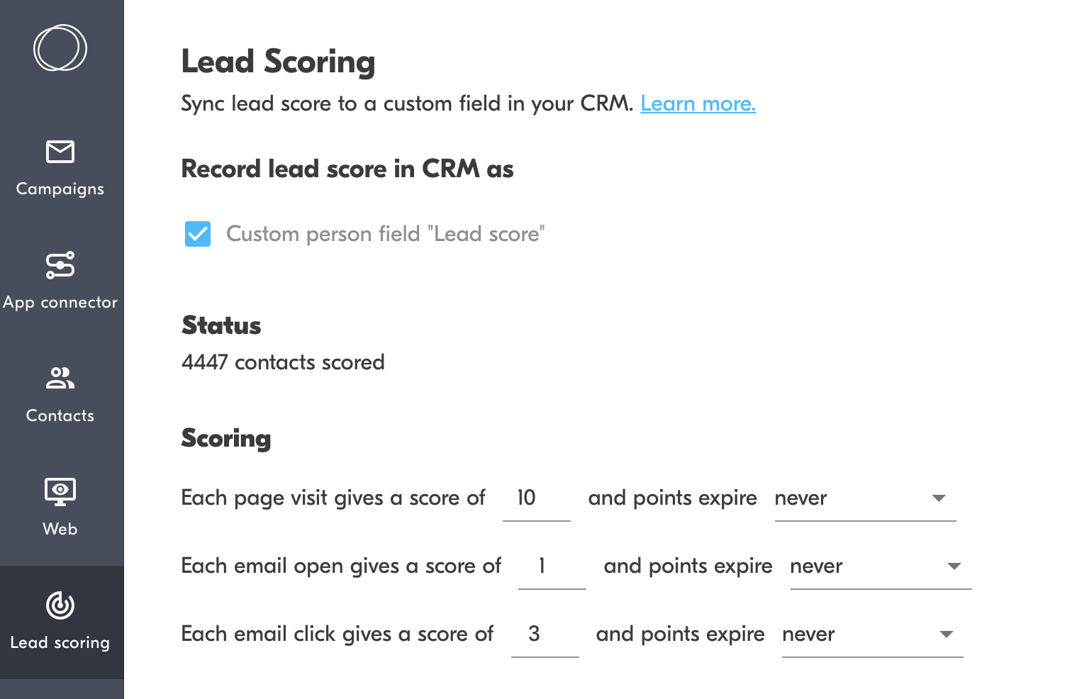lead scoring outfunnel