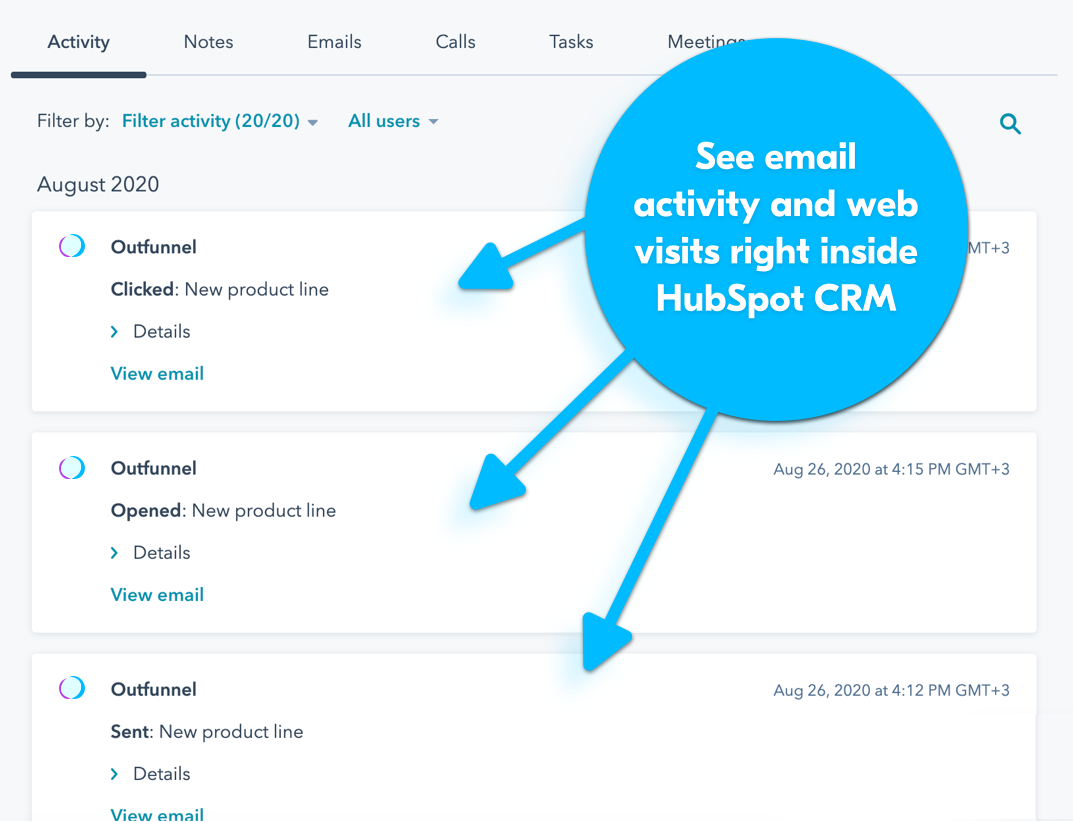 see mailchimp activity in Hubspot
