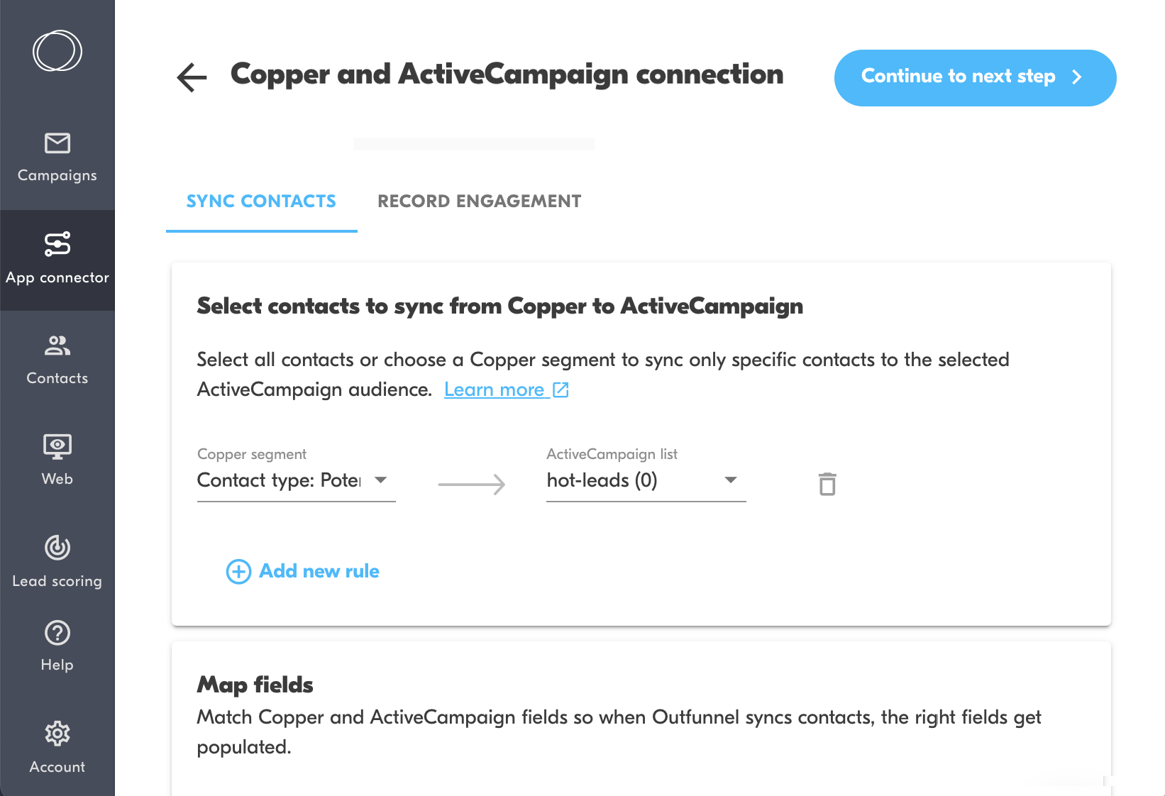 copper and activecampaign connection