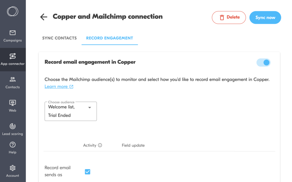 copper mailchimp integration