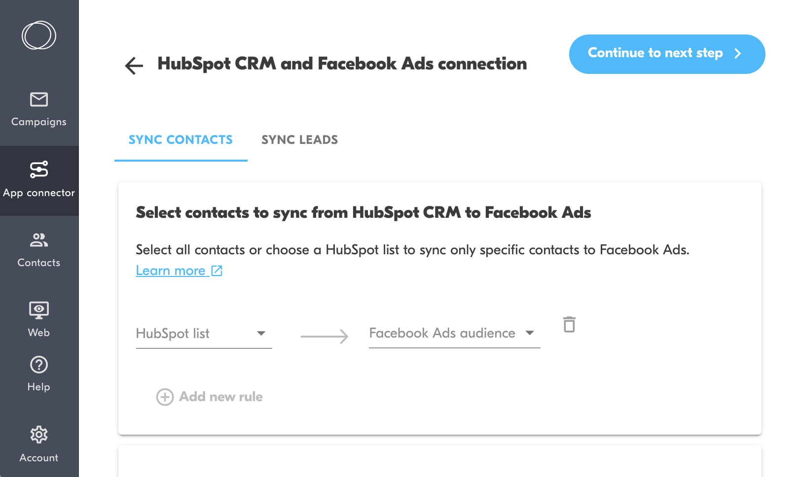 hubspot to facebook contact sync