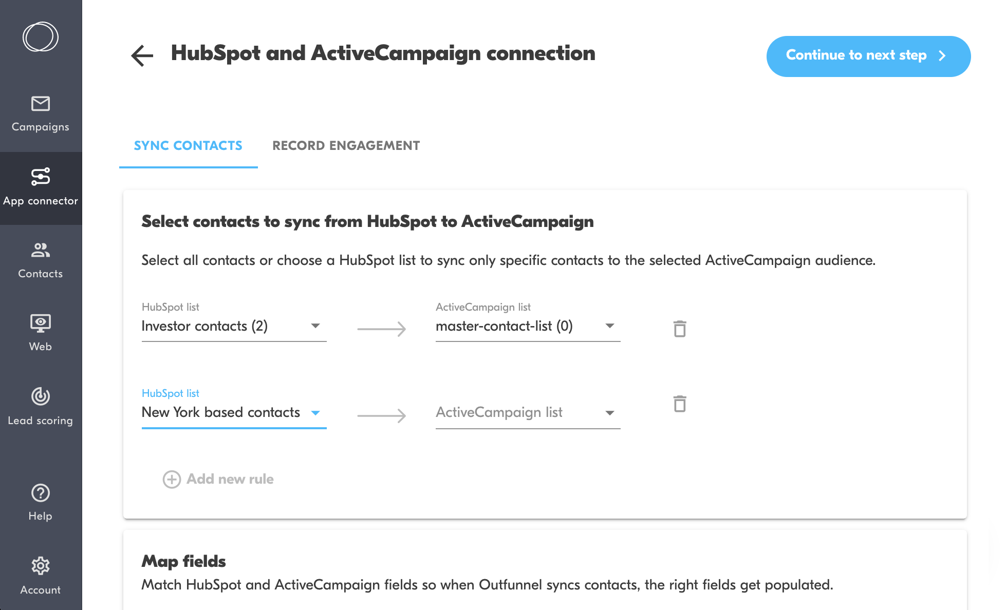 sync contacts from hubspot crm to activecampaign lists