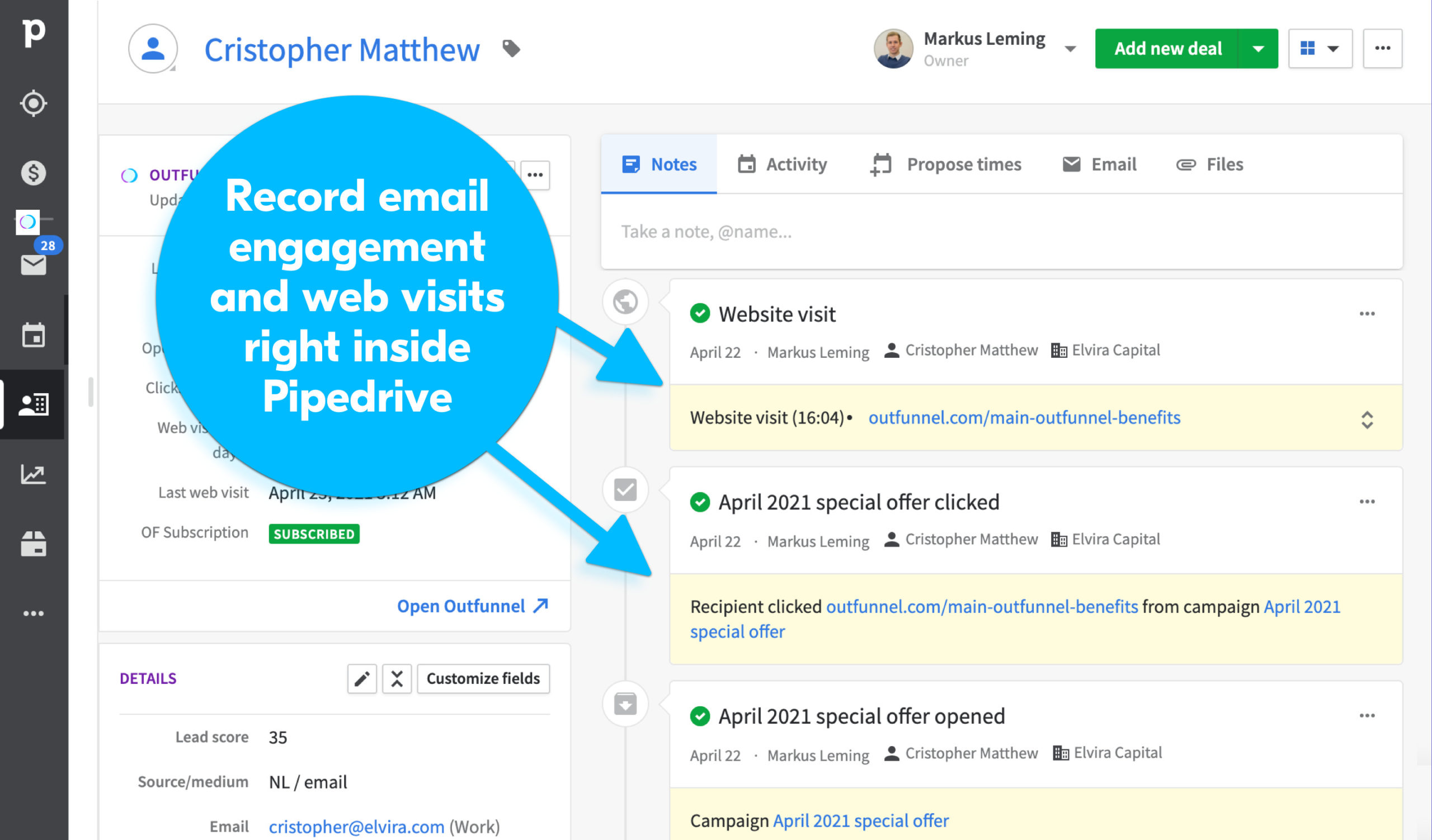 record email engagement in Pipedrive