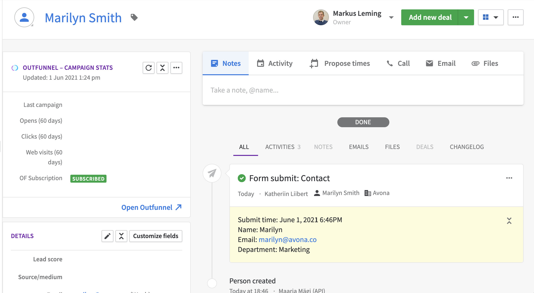 create pipedrive contacts from web forms