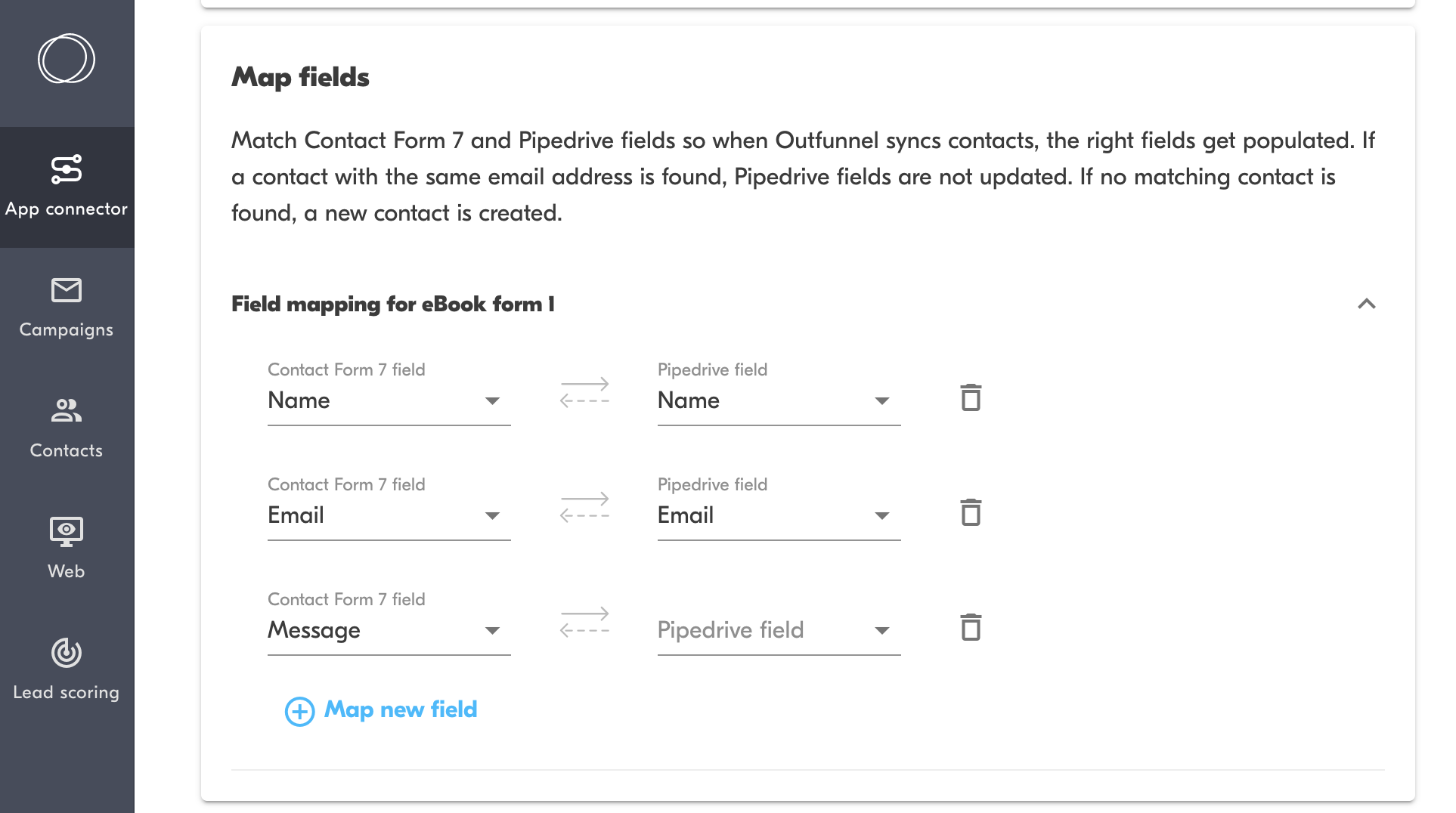 map fields between contact form 7 and pipedrive