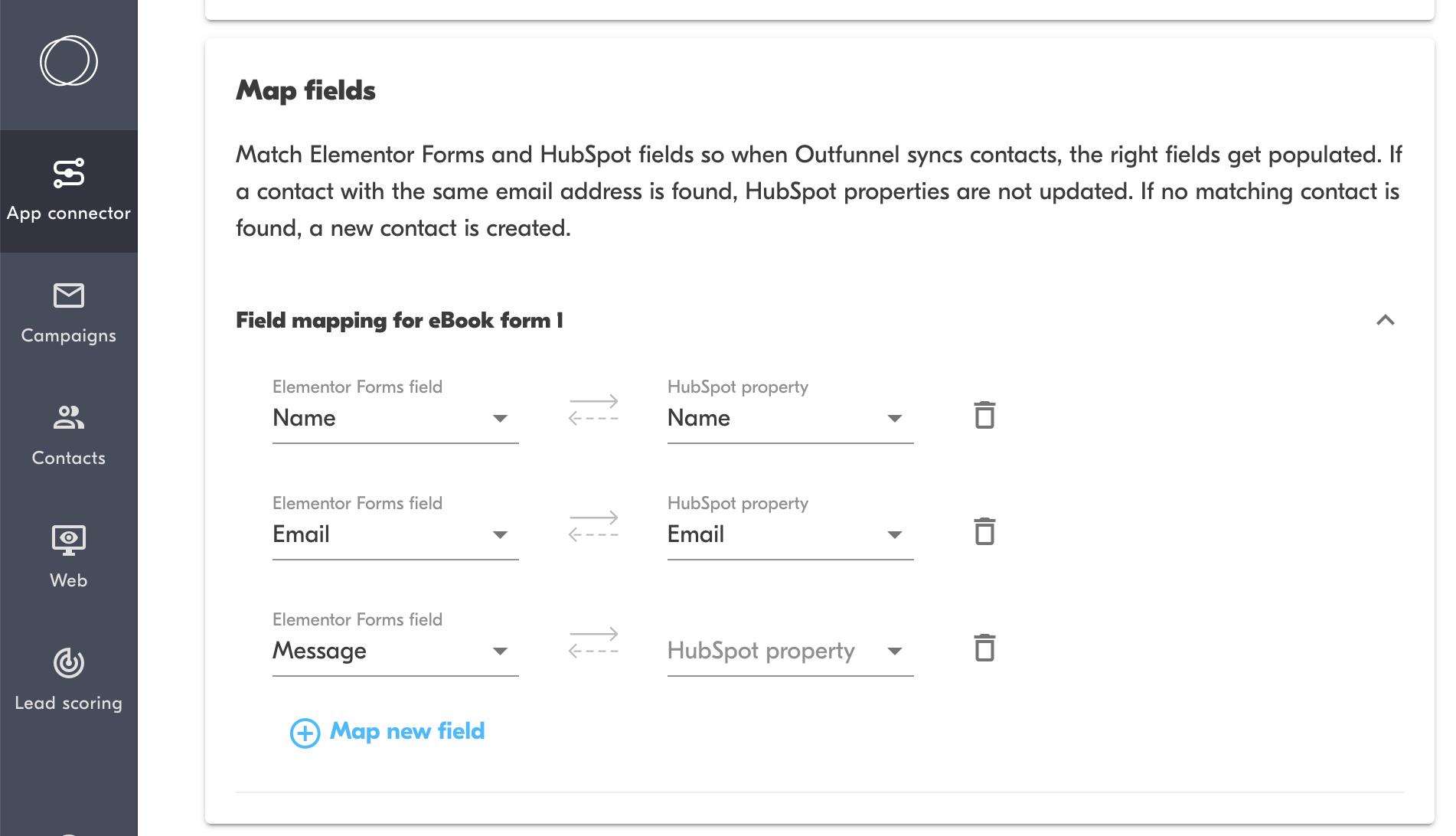map fields between elementor forms and hubspot