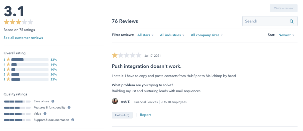 hubspot mailchimp integration review