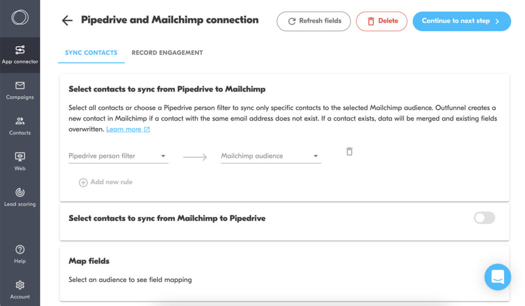 pipedrive mailchimp integration by Outfunnel